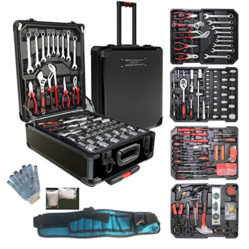 799pcs Aluminum Trolley Case Tool Set Silver, House Repair Kit Set, Household Hand Tool Set, with Tool Belt,Gift on Father's Day (Black)…